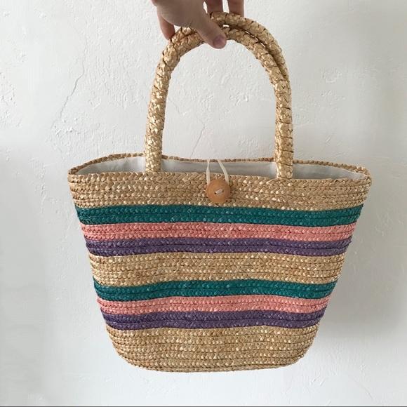 Vintage Straw Striped Tote Bag